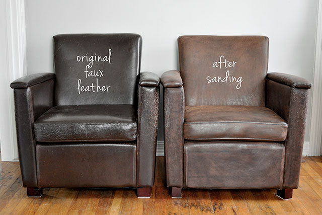 Before and after faux leather sanding