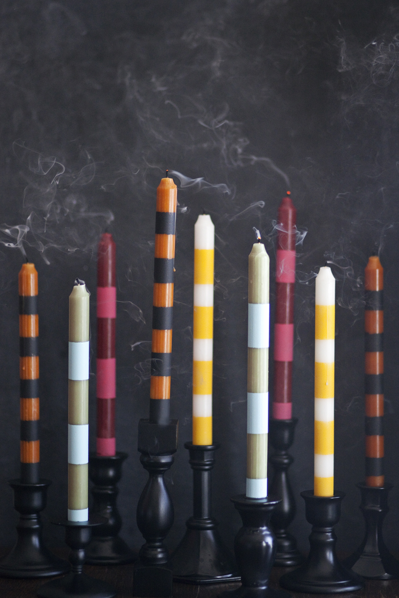 Colorful Striped Candlesticks DIY
