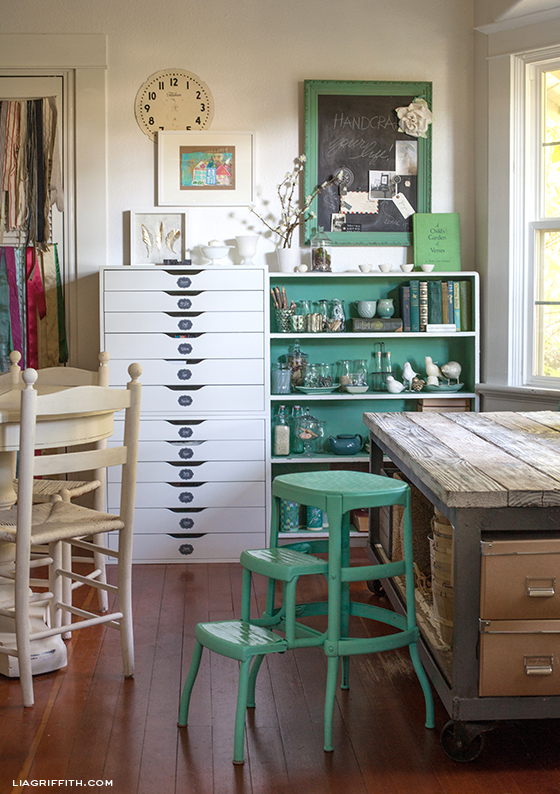 Creative green studio makeover