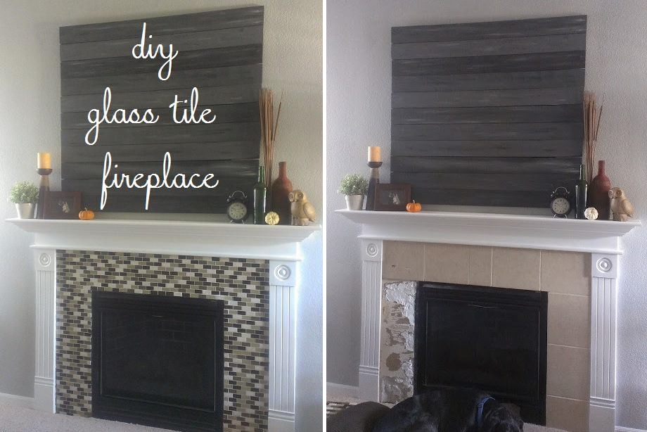 DIY glass tile fireplace