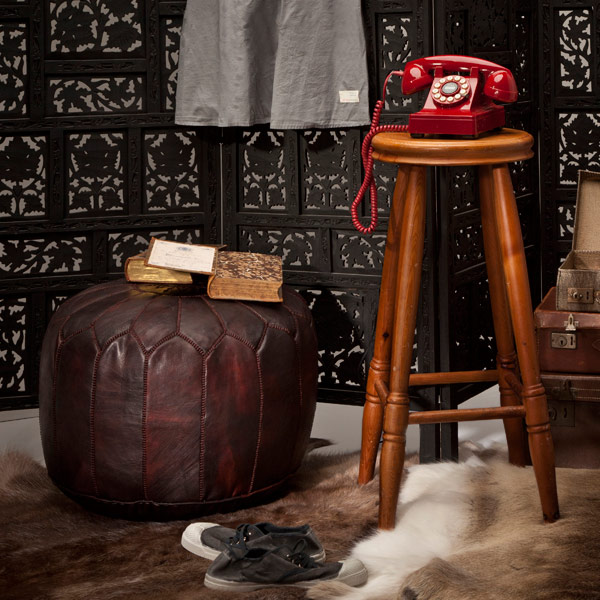 Comfy Moroccan leather pouffe