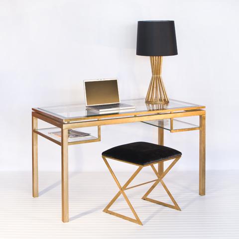 Gold Leaf And Beveled Glass Desk