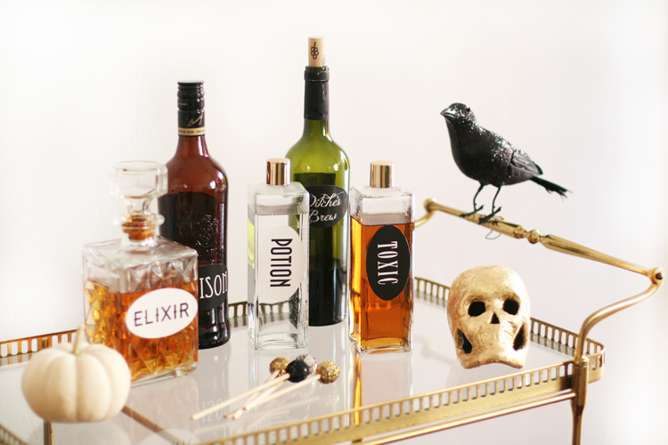 Halloween bar cart with diff potion