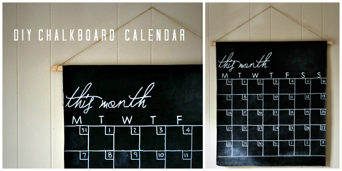 Hanging DIY chalkboard Calendar