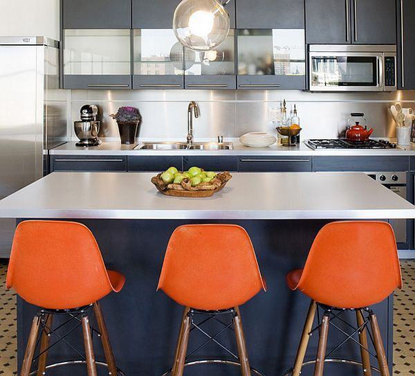 Orange Kitchen Room With White Cabinets Stock Image: Colorful Modern Interior By Mae Brunken Designs