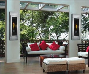 The Napoleon Wall Mounted Stainless Steel Torch/ Fireplace