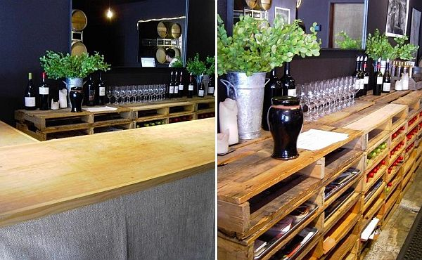 DIY wine tasting room pallet shelving