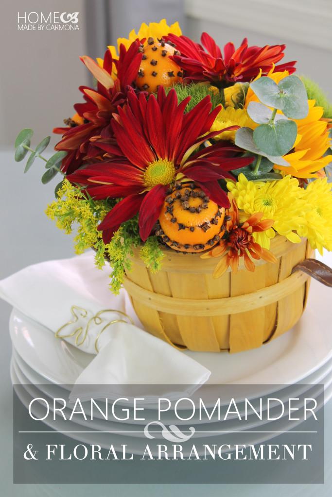 Orange pomander flower bouquet
