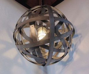 Orbits Lamp, recycled wine barrel hoops of galvanized steel