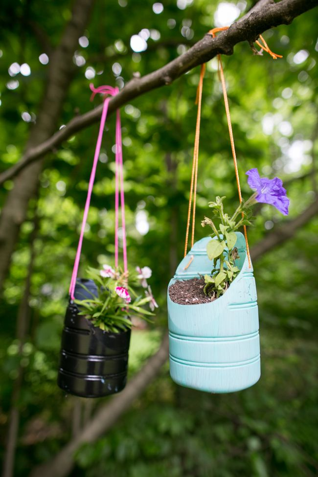 Plastic bottles turned into planters