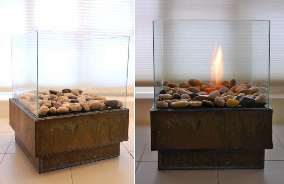 Portable glass fireplace diy