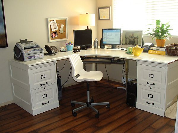 throughout office storage renovation desks shaped ideas best l home with furniture on desk