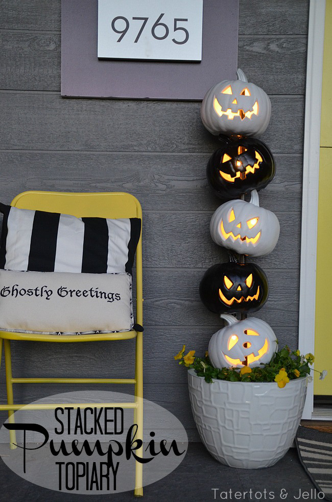 Stacked porch Halloween Pumpkins