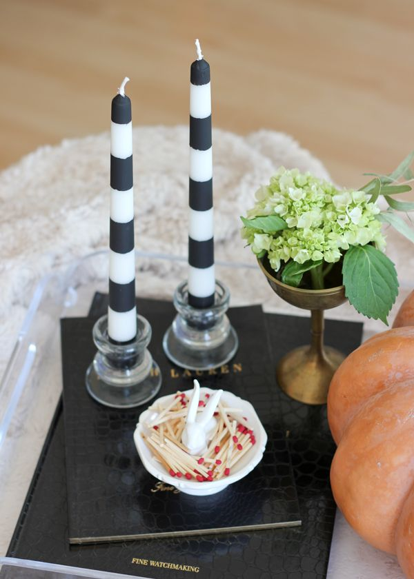 Striped black and white halloween candlestick
