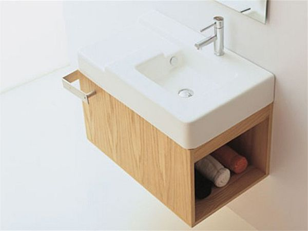 Wooden Suspended Washbasin unit by GSG Ceramic Design