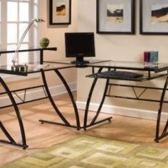 The Z Line Belaire Glass L Shaped Computer Desk Pictures Gallery