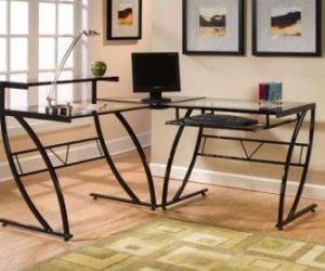 The Z-Line Belaire Glass L-Shaped Computer Desk