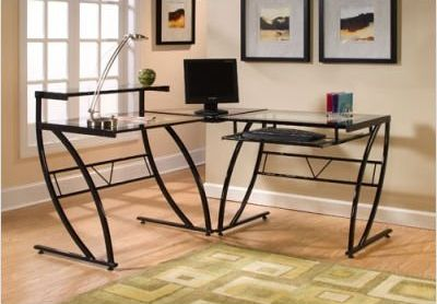 The Z Line Belaire Glass L Shaped Computer Desk