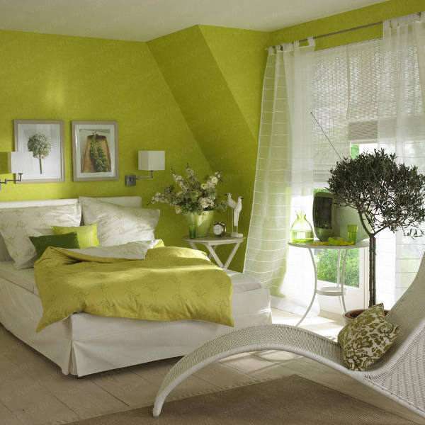 how to decorate a bedroom with green walls. Black Bedroom Furniture Sets. Home Design Ideas