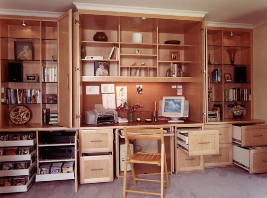 Home office wall cabinet with a hidden surprise inside for Home office cabinet design ideas