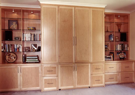 Home office wall cabinet with a hidden surprise inside