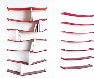 Unconventional Bendy Rubber Bookshelf by Luke Hart