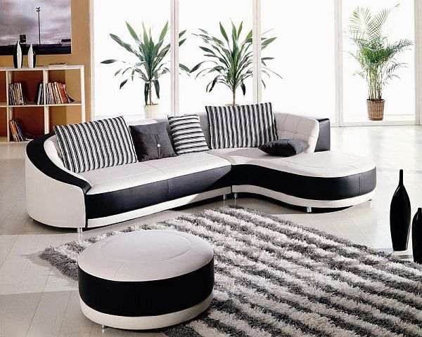 Black And White Corner Sofa