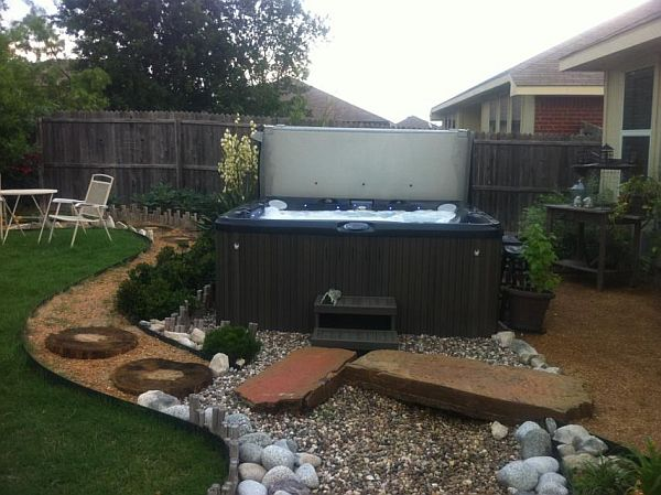 Outdoor Jacuzzi Sitting In The Back Garden With Beautiful Landscape Garden  ...