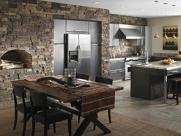 create a rustic kitchen design with the help of stone veneers. Black Bedroom Furniture Sets. Home Design Ideas