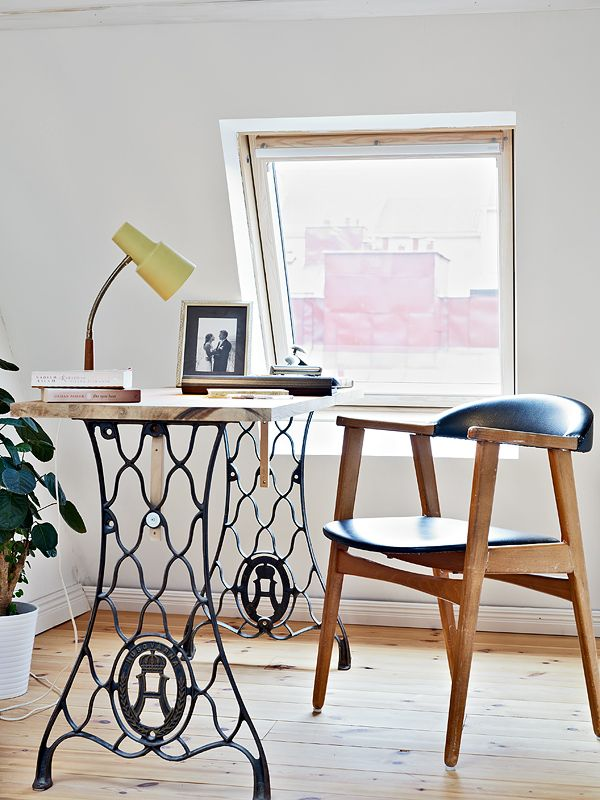 DIY Desk with Vintage Sewing Machine Table Legs.