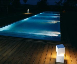 Fluorescent outdoor floor lamp by Xuclà & Alemany