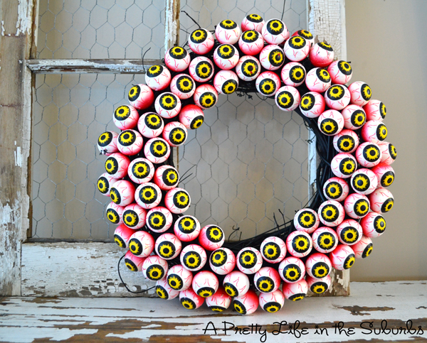 wreath covered in plastic eyeballs