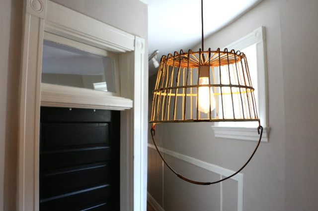 Antique Basket into a Unique Pendant Light