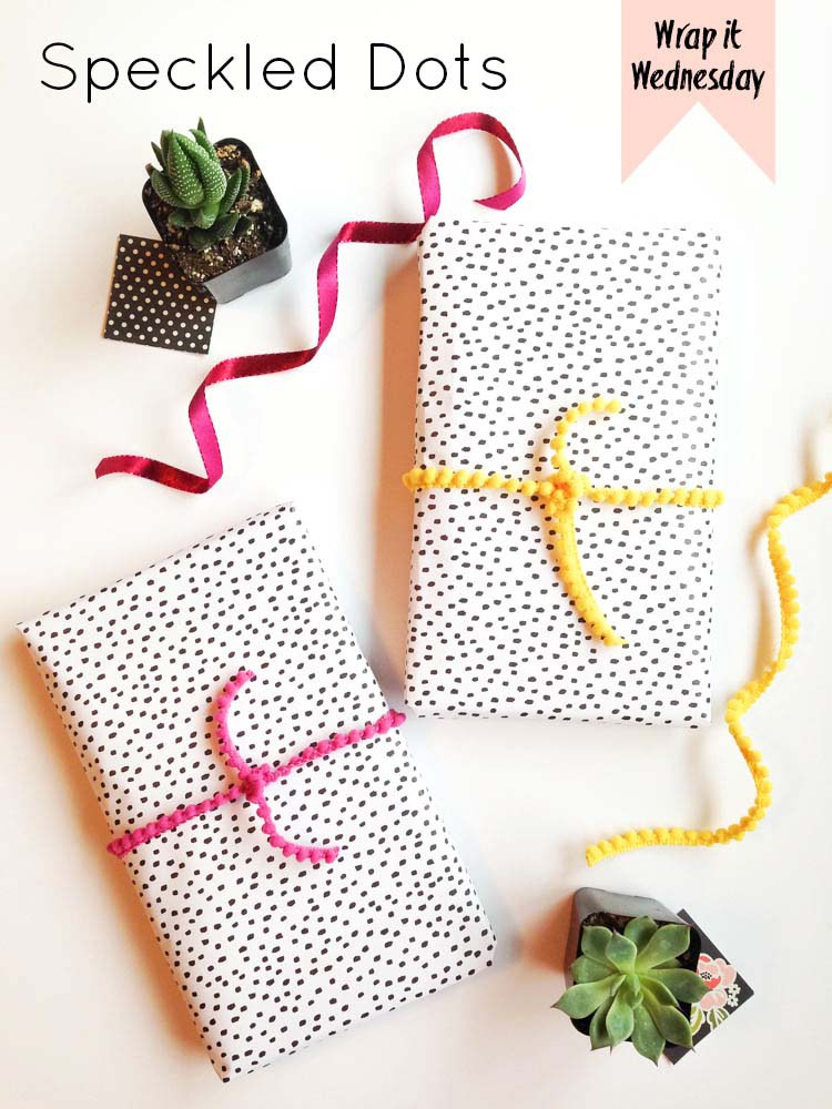 Black polka dots wrapped gift