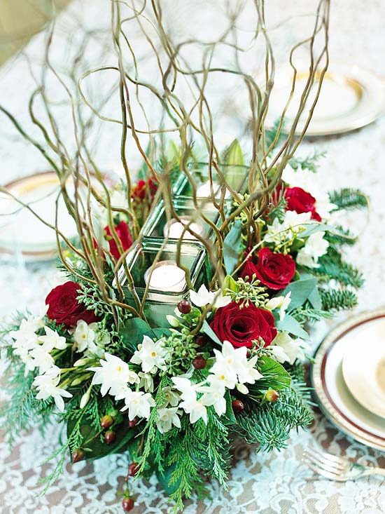 Floral Table Decorations For Christmas  Christmas Centerpieces Ideas26