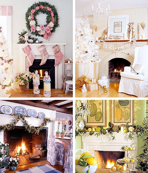 view in gallery - Fireplace Mantel Christmas Decor