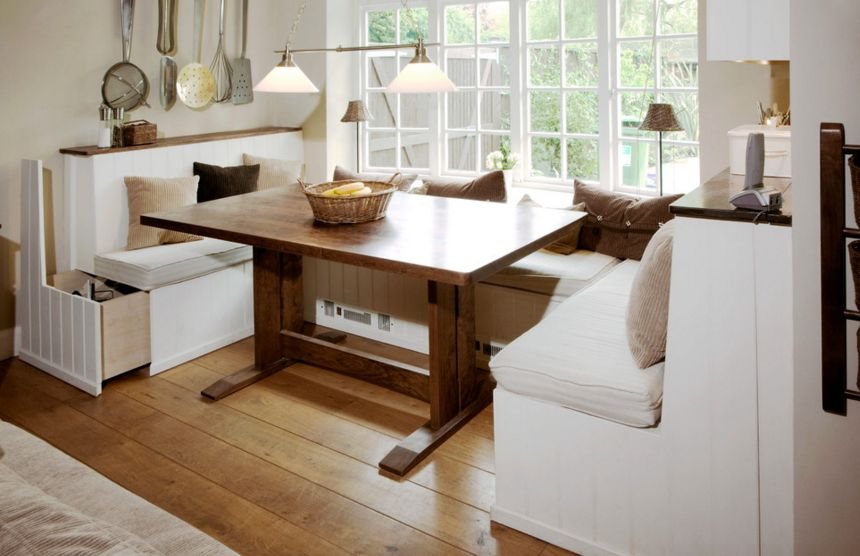 Custom kitchen nook seating with storage under