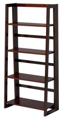 Dolce 4-Shelf Folding Bookcase - Dark Walnut