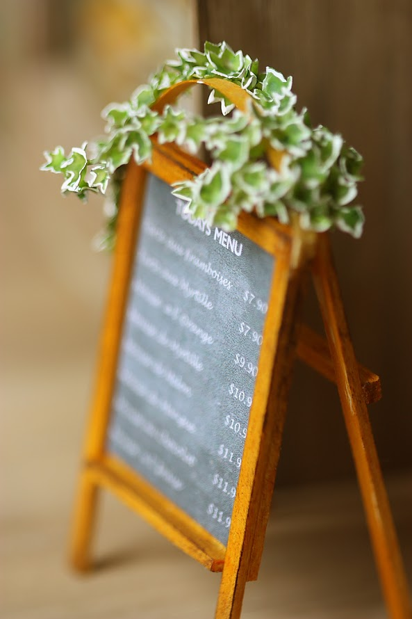 Dollhouse miniature chalk menu