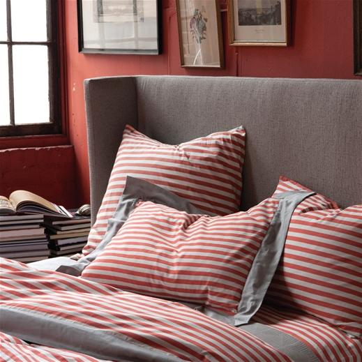 cozy draper stripe poppy duvet set