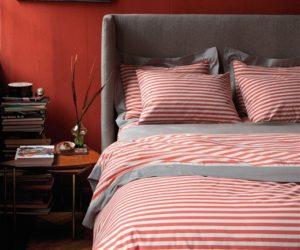 The fresh and cozy draper stripe poppy duvet set