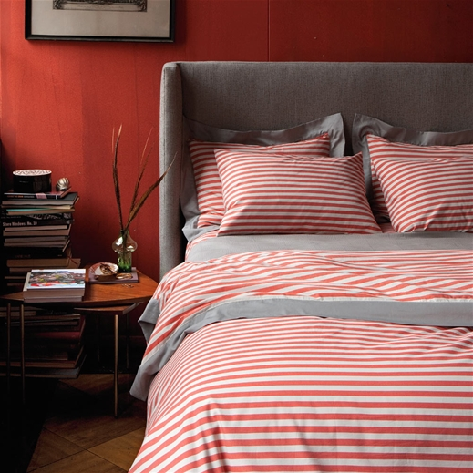 Good The Fresh And Cozy Draper Stripe Poppy Duvet Set Photo