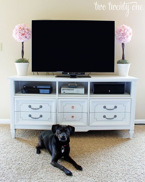 Dresser turned into a tv stand