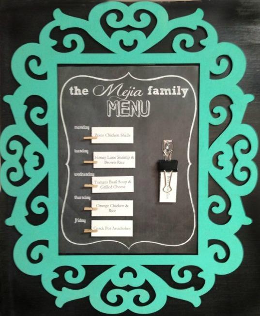 Faux chlakboard menu