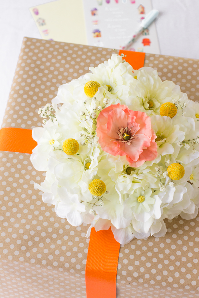 Faux gift flower wrapping