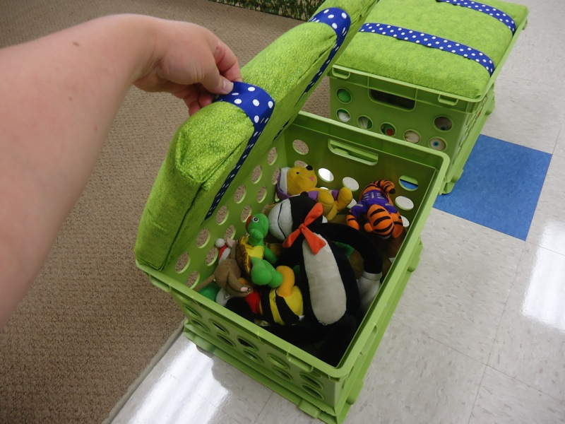 Green Milk Plastic Crates For Toys Storage