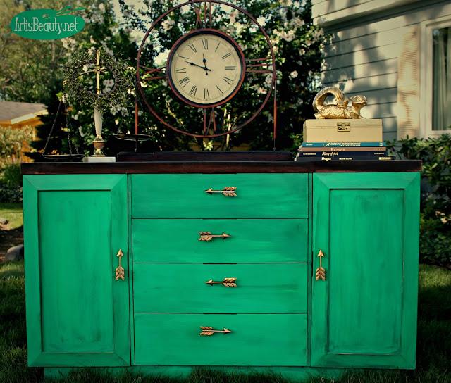 Green painted buffet