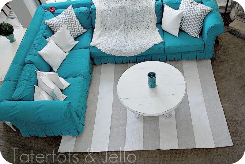 Reupholstering Blue Sofa