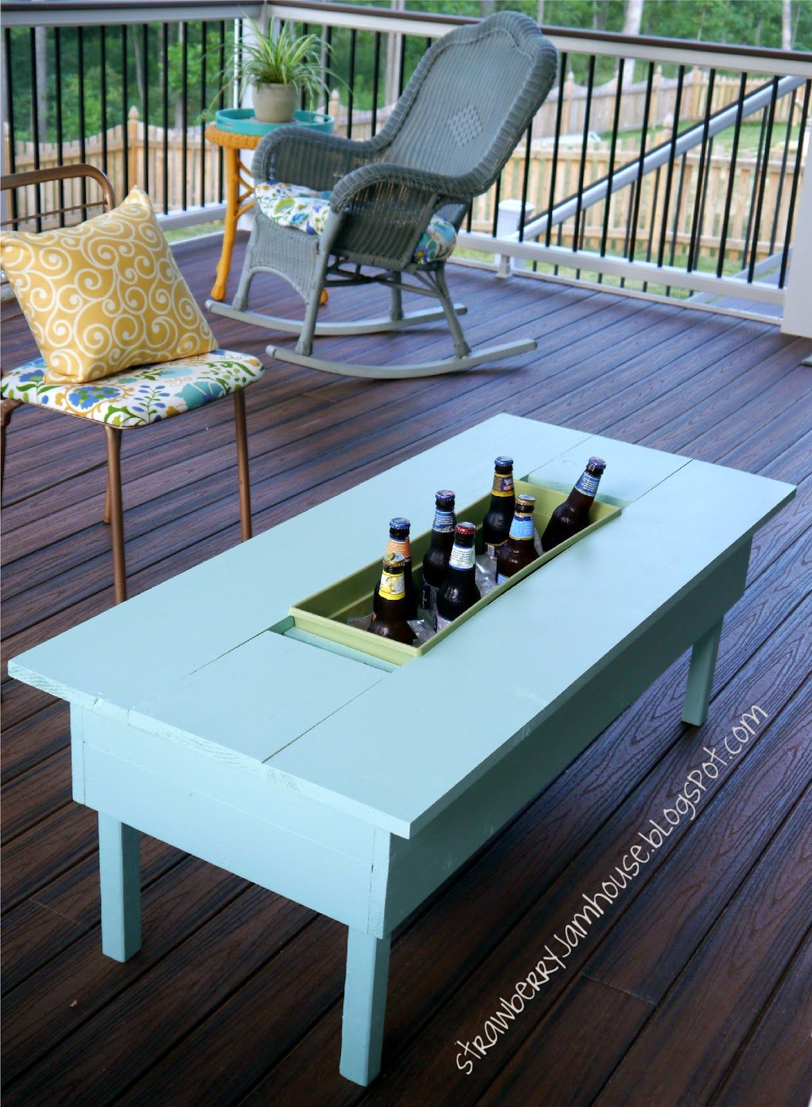 Small coffee table with ice cooler - How To Build Or Upgrade An Outdoor Table With Built-in Cooler