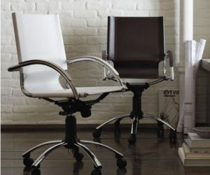 Elegant swivel leather desk chair